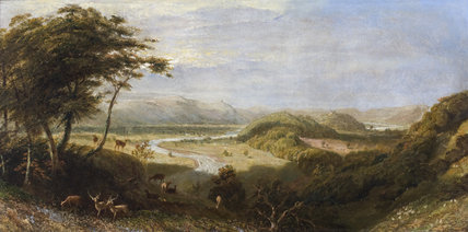 TOWY VALLEY WITH DYNEVOR CASTLE,  circle of James Linnell (1826-1905), in the Drawing Room at Newton House, Dinefwr, Carmarthenshire, Wales. Paxton Tower can be seen in the distance.