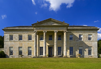 The South front of Philipps House, designed in 1820 by Jeffry Wyatville for William Wyndham in neo-Grecian style, set in Dinton Park, Salisbury, Wiltshire