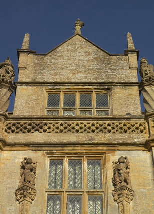 Close view of the projecting bay above the porch on the west front at Montacute House, Somerset