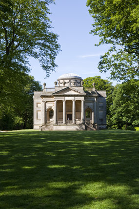 View from the Long Walk to the Palladian Chapel, begun in 1760 to the design of James Paine, at Gibside, Newcastle upon Tyne
