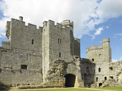 The North Range with the rear of the Gatehouse at Bodiam Castle, East Sussex, built between 1385 and 1388