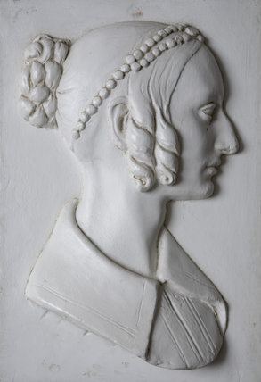 A relief portrait of Lady Caroline Chichester, wife of Sir John Palmer Bruce Chichester, Bart. JP, MP (1794-1851) in the Entrance Hall at Arlington Court, Devon.
