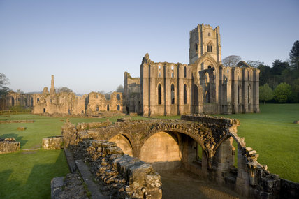 The eastern end of Fountains Abbey, North Yorkshire, a Cistercian community of monks from the twelfth century until the Dissolution in 1539