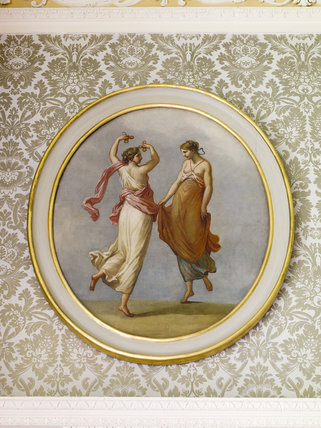 Neo-classical painting in a roundel at Hartwell House, a historic house hotel in Buckinghamshire