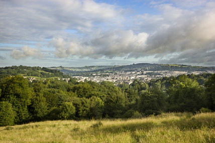 A view to the skyline of Bath from the Pasture at Prior Park Landscape Garden