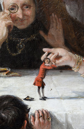 Close detail of part of the painting GULLIVER PRESENTED TO THE QUEEN OF BROBDIGNAG by Charles Robert Leslie RA (1794-1859) in the North Gallery at Petworth House, West Sussex