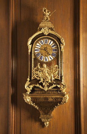 Boulle-cased French bracket clock by Jacques le Pers, c.1740, in the Music Room at Gunby Hall, Lincolnshire.