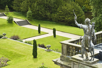 Statue of Diana overlooking the Orangery Terrace Garden at Lyme Park, Cheshire