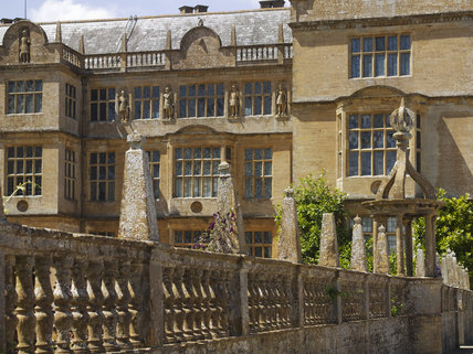 The east front, seen over the balustrade, at Montacute House, Somerset