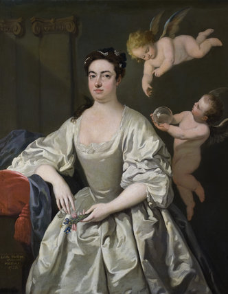 EDITH PHELIPS, MRS CAREW MILDMAY, 1694-1772, by Andrea Soldi, 1750, in the Great Hall at Montacute House, Somerset