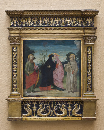 THE VISITATION WITH ST PAUL AND ST FRANCIS, ? Veronese School, fifteenth century, with frame, in the Crimson Ante-Room at at Montacute House, Somerset