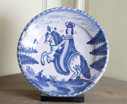 Blue and white ceramic plate at Gunby Hall, Lincolnshire