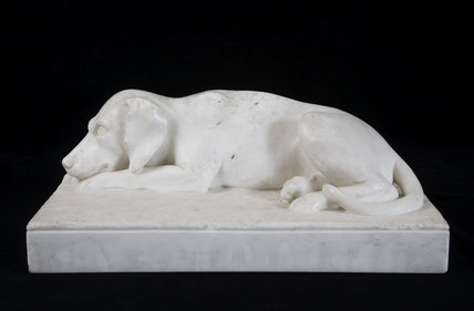 Marble effigy of Memory, Miss Chichester's pet dog, in the Ante-Room at Arlington Court, Devon