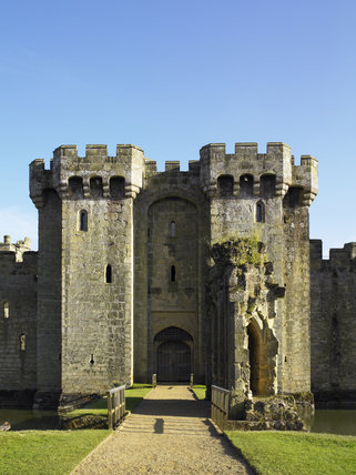 The approach to the Gatehouse at Bodiam Castle, East Sussex, built between 1385 and 1388