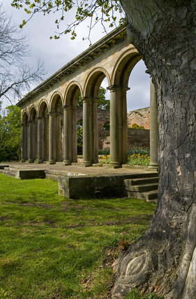 The Tuscan columns of the Orangery, which was begun in 1772 to a design attributed to James Paine, at Gibside, Newcastle upon Tyne