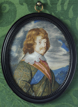 HENRY RICH, 1ST EARL OF HOLLAND attributed to Samuel Cooper (1609-1672), a miniature painting in the Green Closet at Ham House, Richmond-upon-Thames