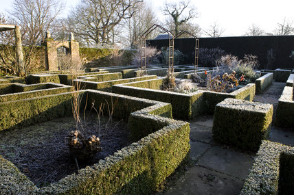 The White Garden in winter at Sissinghurst Castle Garden, near Cranbrook, Kent