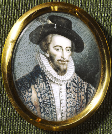 SIR WALTER RALEIGH, miniature by Henry Bone (1755 - 1834) in the Saloon at Wallington