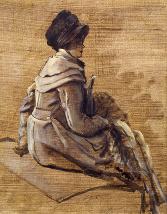 MONOCHROME STUDY OF A SEATED WOMAN by James Tissot (1836-1902)