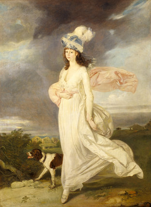 WINDSWEPT GIRL IN A TURBAN WALKING WITH A DOG attributed to Arthur William Devis (1762-1822)
