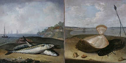 Two of the fish paintings from the Fishing Room at Kedleston Hall.