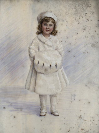 GIRL IN A FUR COAT a miniature signed M.P., c.1900