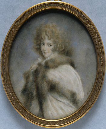 ELIZABETH FARREN, LATER COUNTESS OF DERBY, a miniature after Sir Thomas Lawrence (1790)