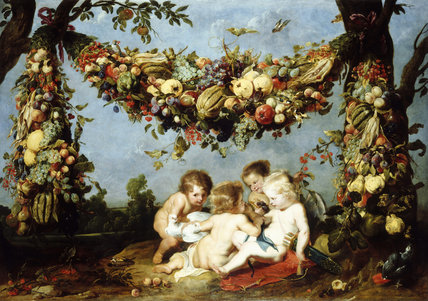 Frans Snyders/Rubens School. CUPIDS UNDER GARLAND