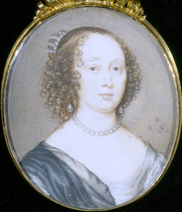 DOROTHY NORTH, LADY DACRE, (1605-1698) a miniature by D le Grange, at The Vyne
