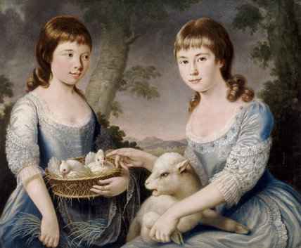 DOUBLE PORTRAIT OF ELIZABETH AND MARY CHICHESTER by Sir George Chalmers, 1777 situated in the Boudoir at Arlington Court in Devon