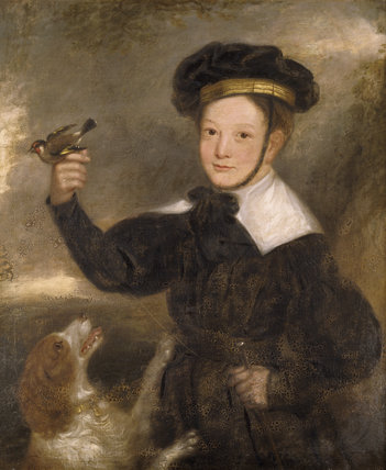 PORTRAIT OF A BOY WITH A DOG AND A BIRD by an unknown artist at Arlington Court