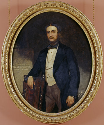 PORTRAIT OF SIR THOMAS GEORGE FERMOR-HESKETH, 5th Bt, (1825-72) by Williams at Rufford Old Hall. Frame size oval 152 x 126cm
