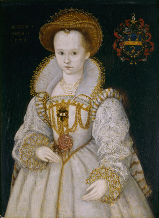 CHRYSOGONA BAKER, Lady Dacre, aged six (d.1616) who  married the 12th Lord Dacre (1589); a portrait (English 1579) by an unknown artist at The Vyne.