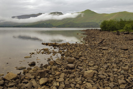 Catbells seen from Calf Close Bay, Derwentwater, on a misty morning, with an exceptionally low water level, Cumbria