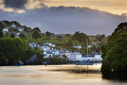 A view of Dittisham on the Dart Estuary seen from the estate at Greenway, Devon, which was the holiday home of the crime writer Agatha Christie between 1938 and 1976