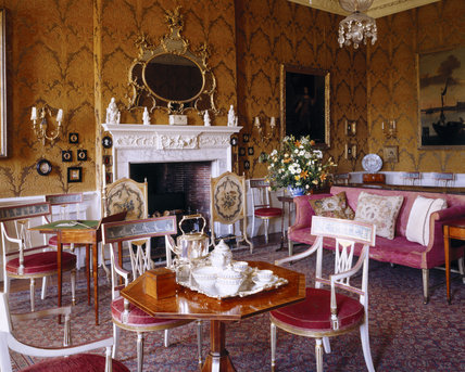 The opulent interior of the Drawing Room, with its 18th Century Italian styled wallpaper and numerous furnishings