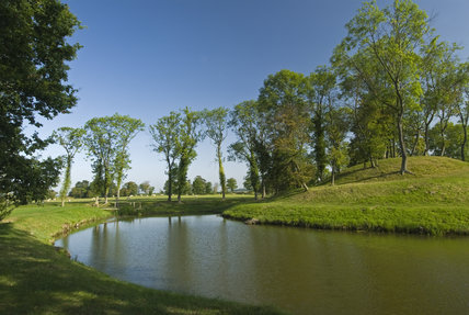 The spiral mount in the Water Garden at Lyveden New Bield, Peterborough, Northamptonshire