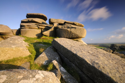 The granite outcrops of Rough Tor, Bodmin Moor, North Cornwall