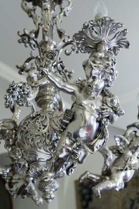 Close detail of a silver ceiling light in the Balcony at Polesden Lacey, nr Dorking, Surrey