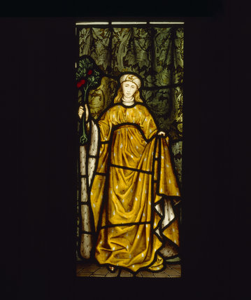 Winter, one of four stained glass panels in the inglenook fireplace in the Dining Room, designed by William Morris, dated 1873