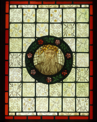 Homer painted glass designed by Burne-Jones for Morris & Co