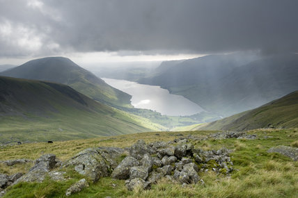 A striking and dramatic view of Wastwater in the distance, at Wasdale, Cumbria