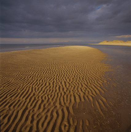 View of the foreshore at Formby Point, showing sand patterned by the receding tide