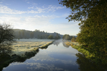 A frosty winter scene at the River Wey Navigations, Surrey