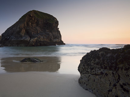 Pendarves Island from Bedruthan Steps beach (Not National Trust) at sunset, North Cornwall