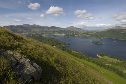 The view from Catbells towards Skiddaw, Blencathra and Keswick, in Cumbria