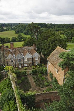 Overview of the cottages and Parterre Garden from the Great Tower at Greys Court, Henley-on-Thames, Oxfordshire