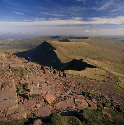 View looking east towards Cribyn from Pen Y Fan (all NT except land beyond Cribyn)