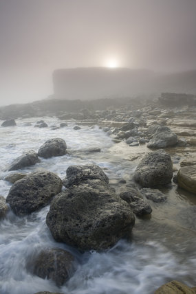 Mist clearing at Trow, The Leas, on the Marsden coast, Tyne & Wear