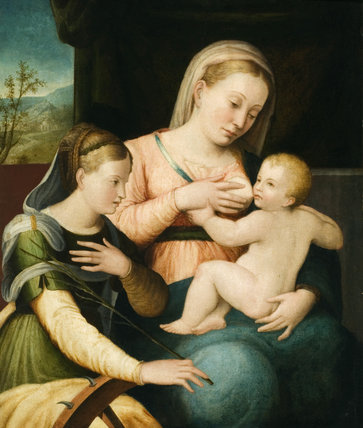 MADONNA AND CHILD, a painting at the new house at Scotney Castle, Kent